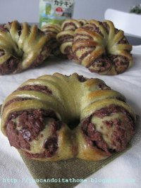 Green Tea Bread Roll with Red Bean Filling