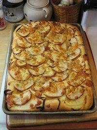 Focaccia w/ Onions, Pear and Bleu Cheese