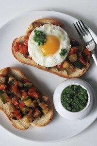 Ratatouille toast, eggs and salsa emerald