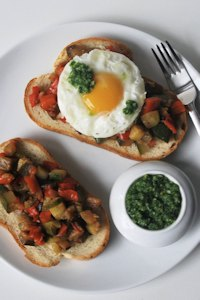 Ratatouille toast, eggs and salsa emerald