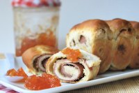 Ham rolls and almond pesto with tomato jam