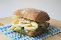 Tuna sandwich, egg and tarragon endive