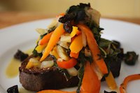 Crostoni With Gypsy Peppers & Rainbow Chard