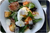 Warm Bread, Pancetta, & Poached Egg Salad