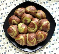 Pull-Apart Chocolate Matcha Swirl Bread