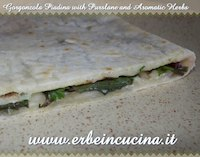 Gorgonzola Piadina with Purslane and Herbs