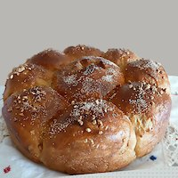 Challah with wheat flour,and veg. rich cream
