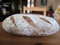 Sourdough bread, rye and wheat bran