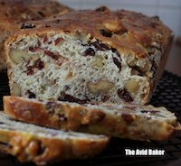 Crimson studded Cranberry Walnut Bread
