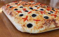 Foccacia With Peppers, Olives, and Pecorino Cheese