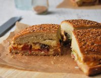 Maxi Sandwich Stuffed With Vegetables And Salami