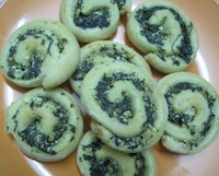 Spinach Feta And Toasted Pinenut Pinwheels