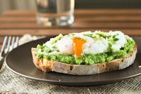 Crostini With Peas, Poached Egg And Parsley Oil