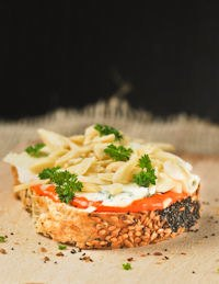 Grain Bread With Cream Of Peppers And Gorgonzola