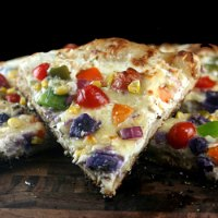 Gooey Sourdough Rainbow Pizza