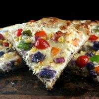 Gooey Sourdough Rainbow Pizza