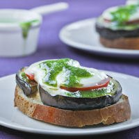 Toast Of Eggplant With Tomato And Pesto