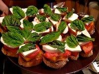 Peach Tomato Mozzarella Crostini