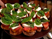 Peach Tomato Mozzarella Crostini