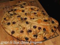 Grape/Onion/Blue Cheese Fougasse