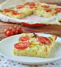 Very Simple Bread Cake With Leeks And Tomatoes