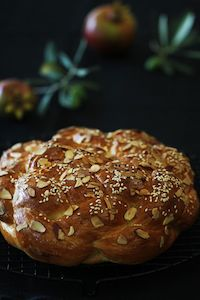 Round Almond Challah And Coconut Milk