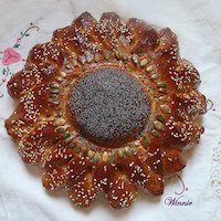 Flower-shaped Challah, made of mixed flours