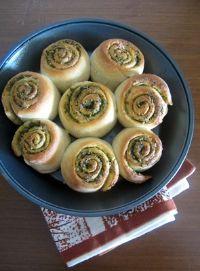 Eggless Pesto Rolls With Homemade Pesto