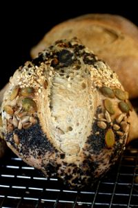 Six-Seed Garlic Onion Poolish Rolls