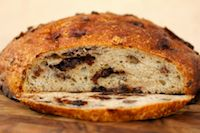 No Knead Chocolate Cherry Pecan Bread
