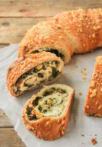 Filled Bread With Spinach And Cheese