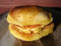 Cornmeal-Sourdough Pancakes with Pineapple Syrup