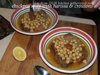 Chickpea Soup with Harissa and Croutons
