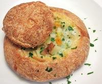 Sourdough Corn Bread Bowls w/ Winter Veg Chowder