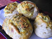 Provolone-Cheddar Stuffed Garlic Herb Loaves