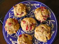 Egg free sourdough strawberry and walnut muffins
