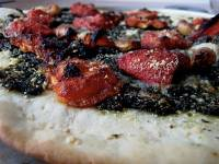 Oven-Roasted Tomato and Pesto Pizza