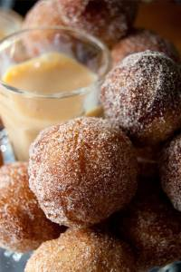 Mini doughnuts with homemade dulce de leche