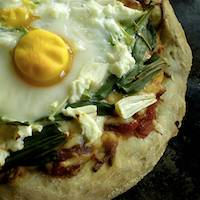 Egg, Wild Leek & Goat Cheese Pizza