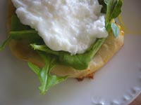 Pizza with Chipotle Pesto, Arugula and Poached Egg