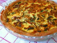 Tomato Zucchini Quiche with a Sourdough Crust