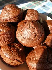 Chocolate Cherry Sourdough Muffins