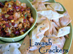 Lavash Crackers with Fruit & Sprouted Beans Salsa