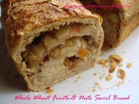 Whole Wheat Fruits & Nuts Swirl Bread