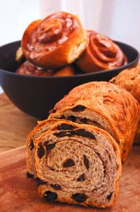 Cinnamon buns and Cinnamon raisin walnut bread