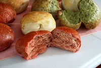 spinach rolls and beet rolls